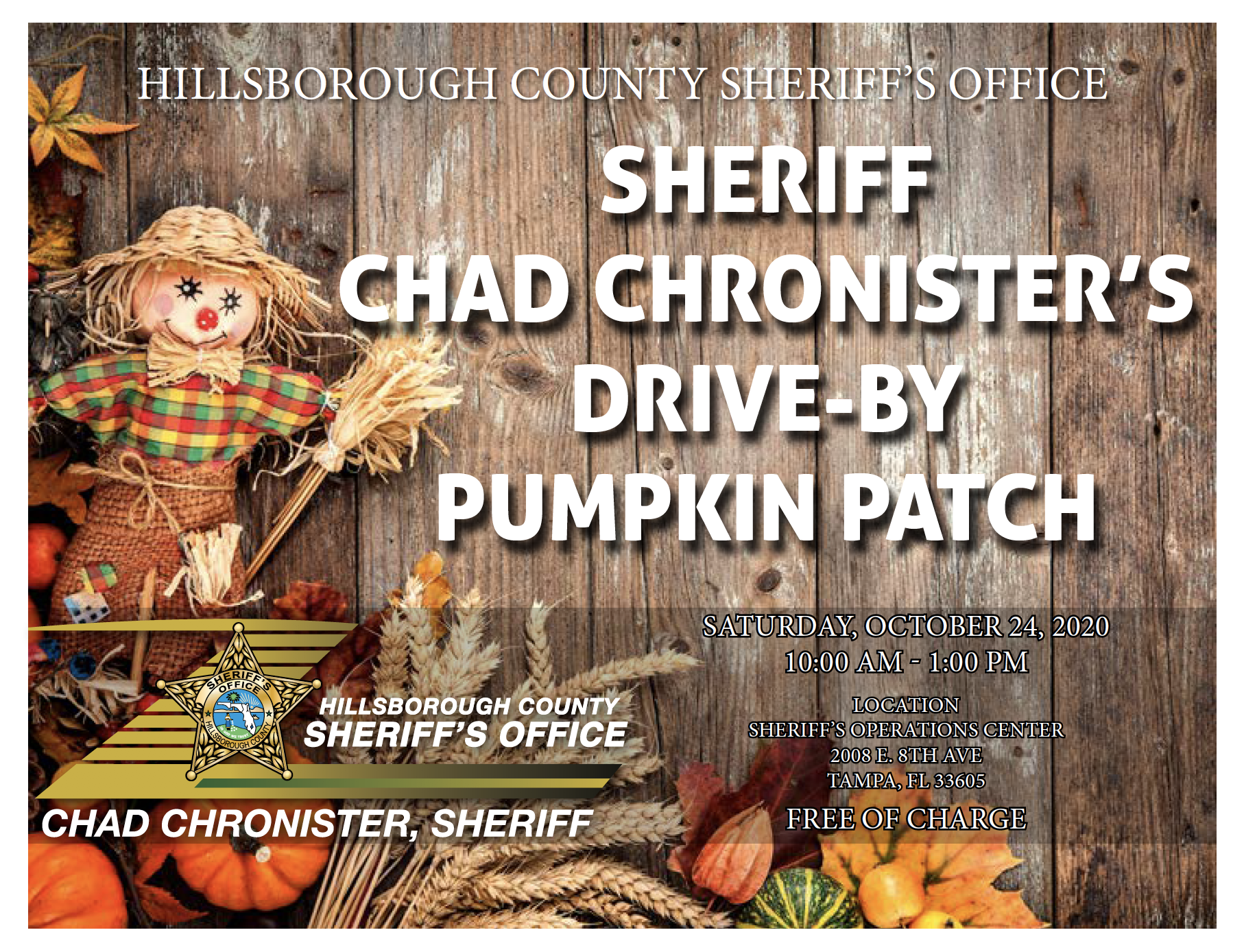 Sheriff Chad Chronister hosting drive-by pumpkin patch